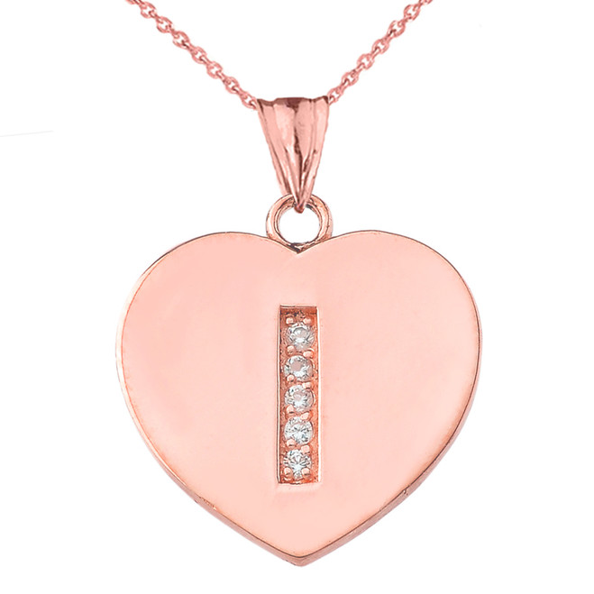 "Diamond Initial ""I"" Heart Pendant Necklace in Rose Gold"
