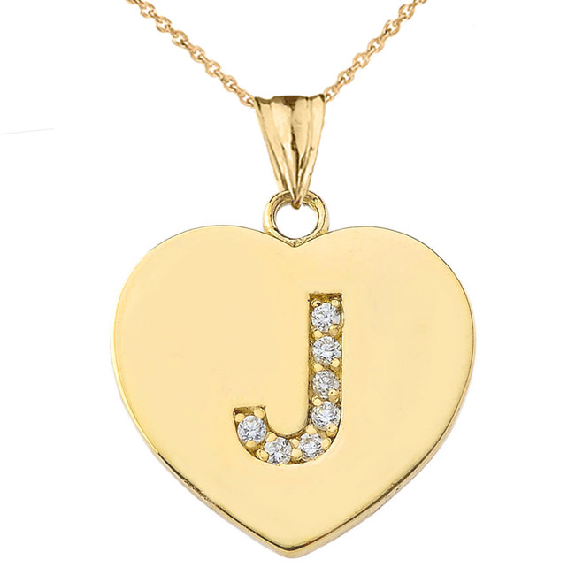 "Diamond Initial ""J"" Heart Pendant Necklace in Yellow Gold"