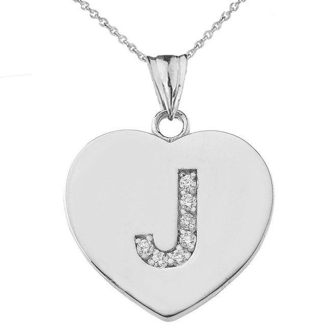 "Diamond Initial ""J"" Heart Pendant Necklace in White Gold"