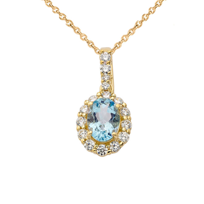 Diamond & Genuine Aquamarine Pendant Necklace in Yellow Gold
