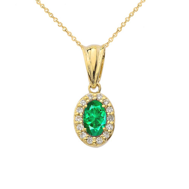 Diamond & Genuine Emerald Pendant Necklace in Yellow Gold