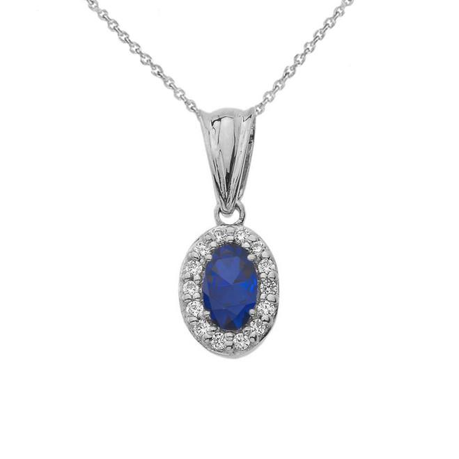 Diamond & Genuine Sapphire Pendant Necklace in White Gold