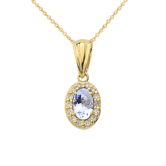 Diamond  & Genuine Aquamarine Pendant Necklace in Yellow Gold