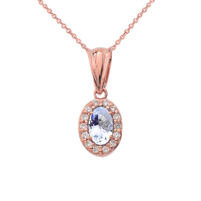 Diamond &  Genuine Aquamarine Pendant Necklace in Rose Gold