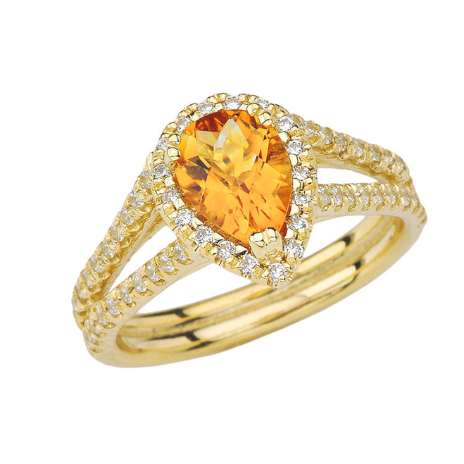 Double Raw Halo Pear Shape Genuine Checkerboard Citrine Ring in Yellow Gold
