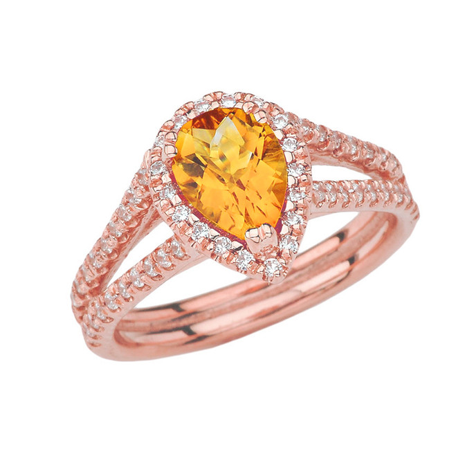 Double Raw Halo Pear Shape Genuine Checkerboard Citrine Ring in Rose Gold