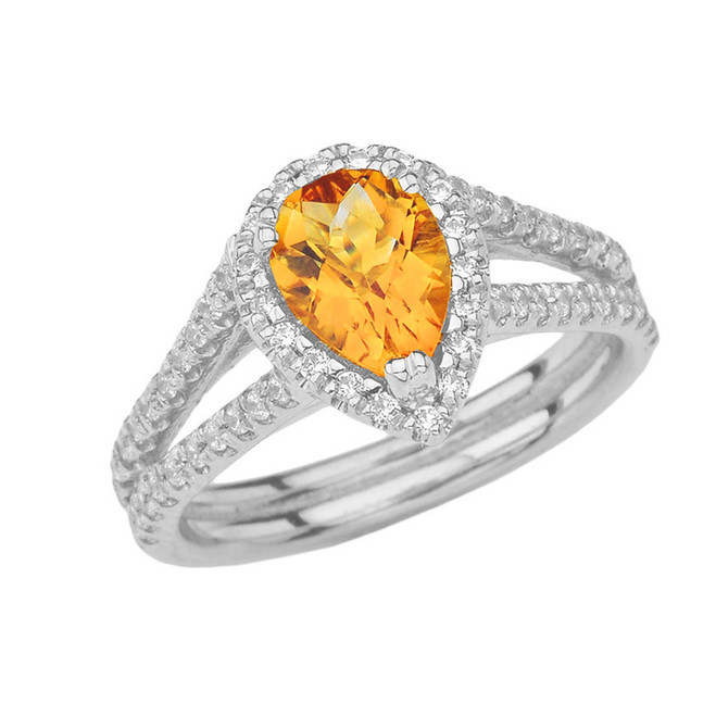 Double Raw Halo Pear Shape Genuine Checkerboard Citrine Ring in White Gold