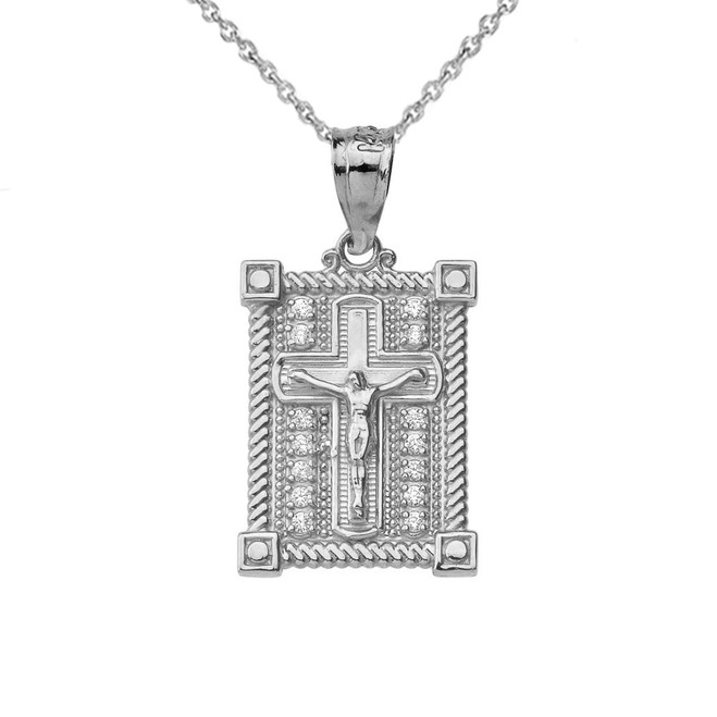 Boxed Cross Pendant Necklace in Sterling Silver