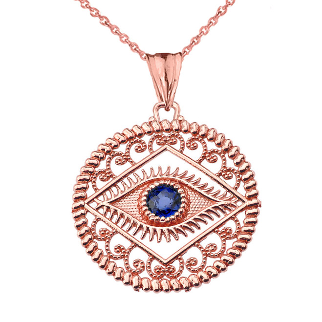 Round Filigree Evil Eye Pendant Necklace in Rose Gold