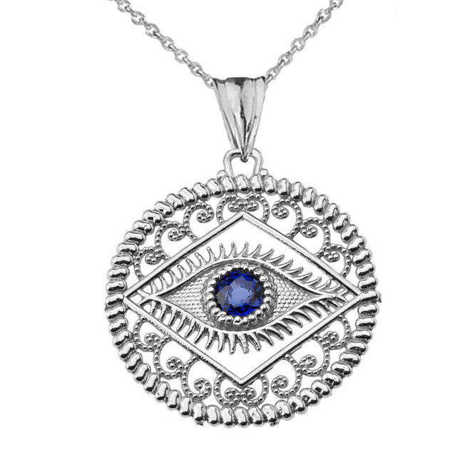 Round Filigree Evil Eye Pendant Necklace in White Gold