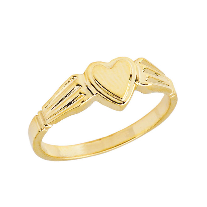 Ladies Heart Signet Ring in Yellow Gold