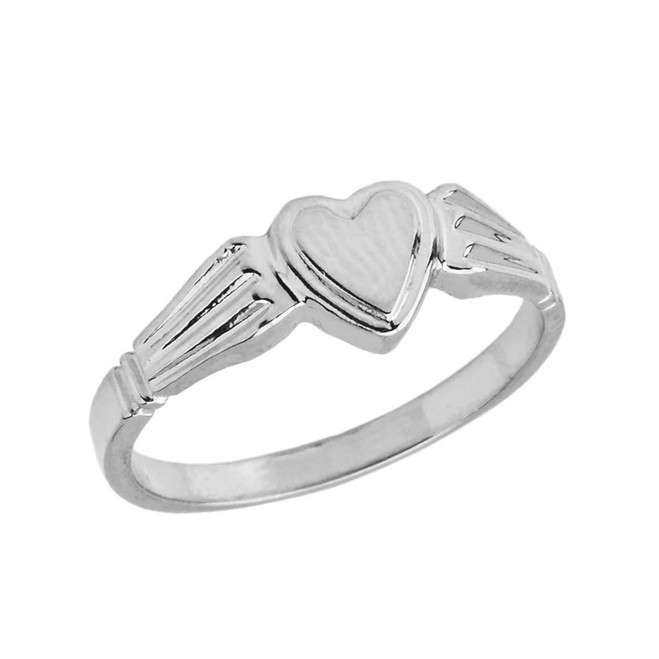 Ladies Heart Signet Ring in Sterling Silver