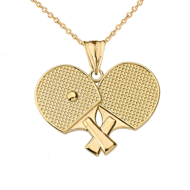 Ping Pong Rackets Pendant Necklace in Yellow Gold