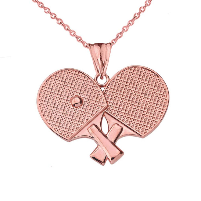 Ping Pong Rackets Pendant Necklace in Rose Gold