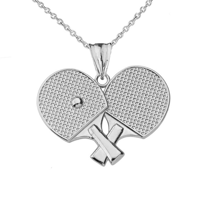 Ping Pong Rackets Pendant Necklace in White Gold