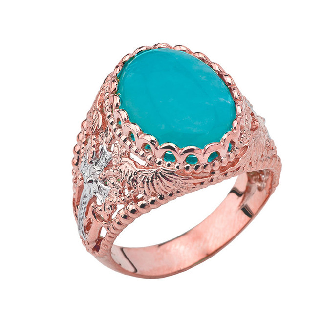 Genuine Amazonite Modern Cross Filigree Mens Ring in Rose Gold