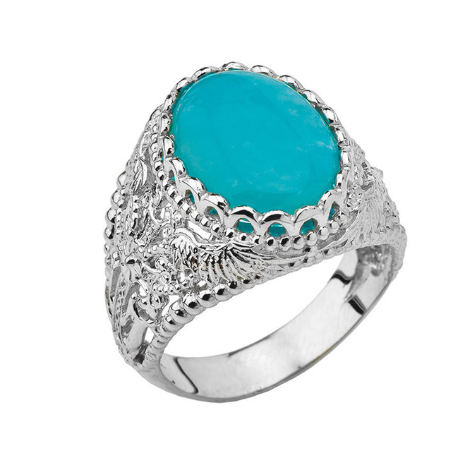 Genuine Amazonite Modern Cross Filigree Mens Ring in White Gold