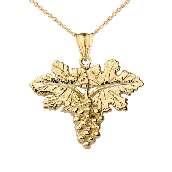 Grape Vine Pendant Necklace in Yellow Gold