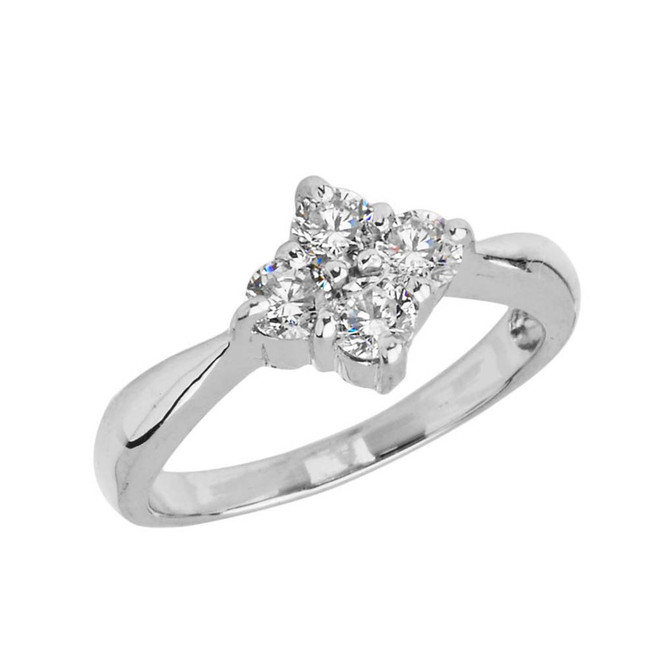 4 Stone Cluster Promise Ring in White Gold
