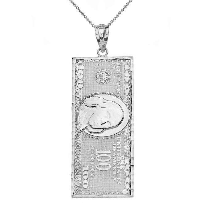 Solid White Gold Benjamin Franklin United States American Hundred Dollar Bill  Pendant Necklace (Large)