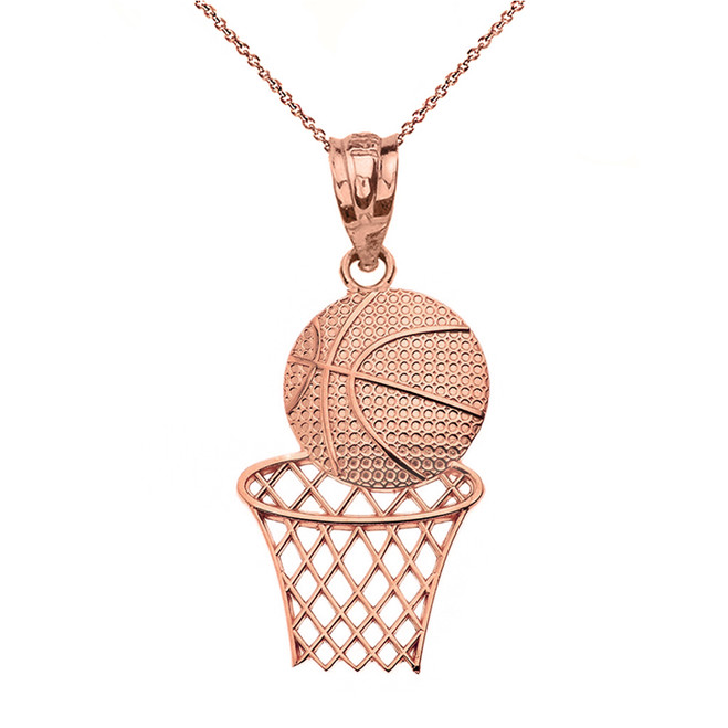Solid Rose Gold Textured Basketball Hoop Pendant Necklace