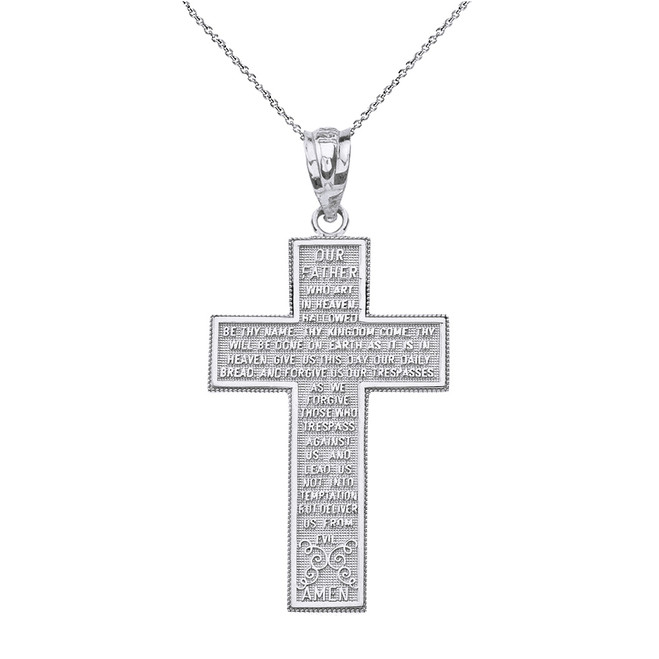 Solid White Gold The Lord's Our Father Prayer Cross Pendant Necklace