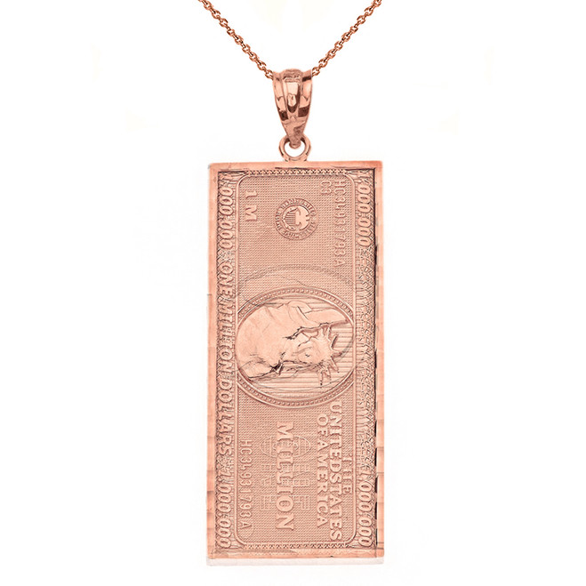 Solid Rose Gold Double Sided Million Dollar Bill Money Pendant Necklace(Large)