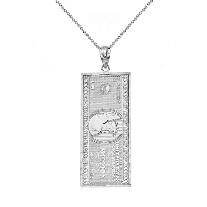 Sterling Silver Double Sided Million Dollar Bill Money Pendant Necklace (Small)
