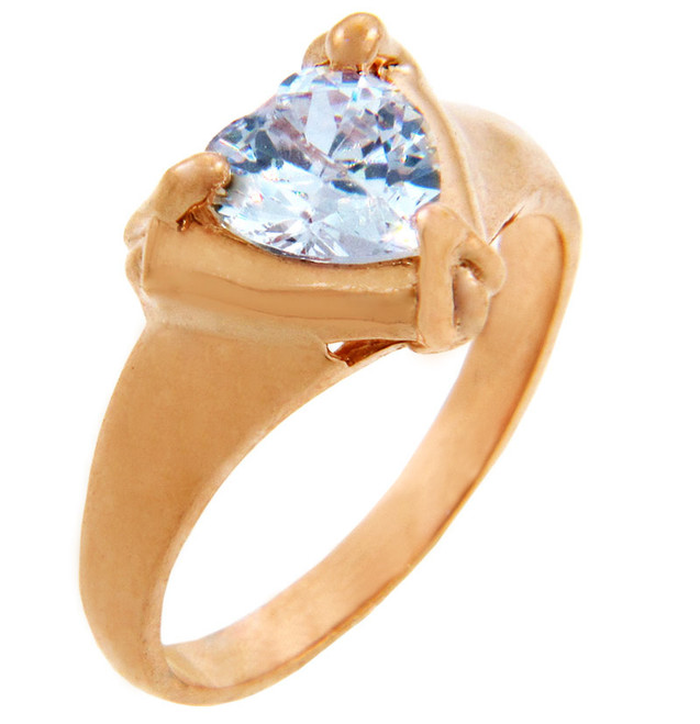 Ladies CZ Rings - Clear Cubic Zirconia Heart Ring in Rose Gold