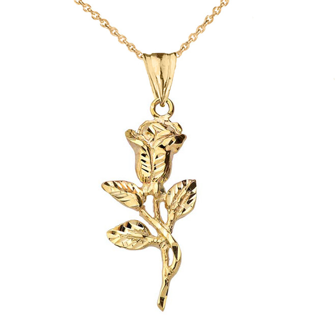 Sparkle Cut Rose Pendant Necklace in Yellow Gold