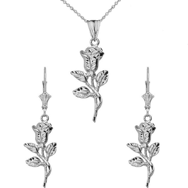 14K Sparkle Cut Rose Pendant Necklace Set in White Gold