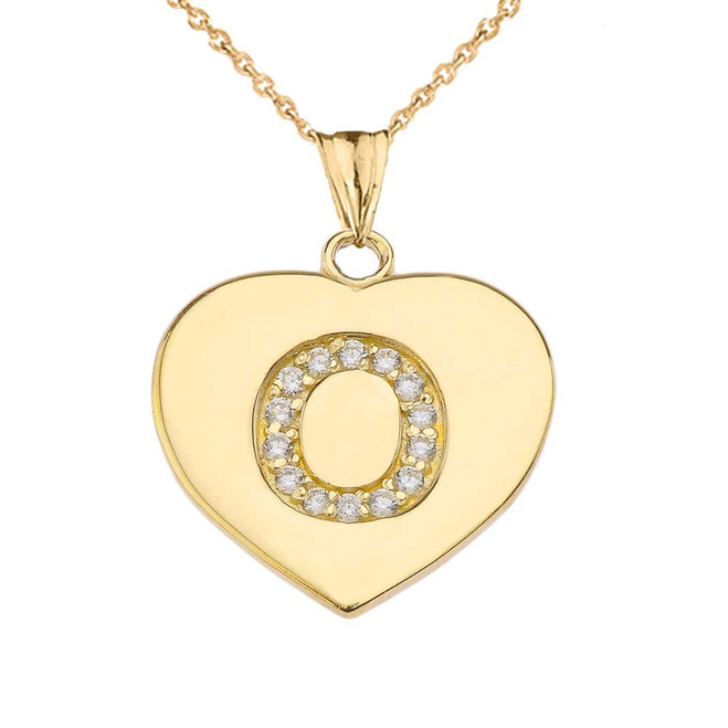 "Diamond Initial ""O"" Heart Pendant Necklace in Yellow Gold"