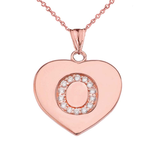 "Diamond Initial ""O"" Heart Pendant Necklace in Rose Gold"