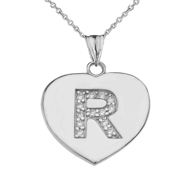 """Diamond Initial """"R"""" Heart Pendant Necklace in Sterling Silver"""