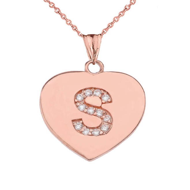 """Diamond Initial """"S"""" Heart Pendant Necklace in Rose Gold"""