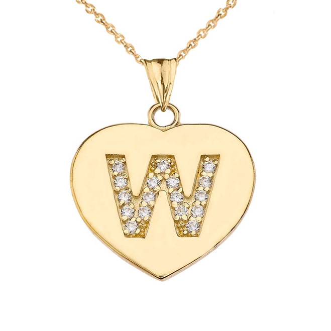 "Diamond Initial ""W"" Heart Pendant Necklace in Yellow Gold"
