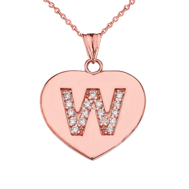 "Diamond Initial ""W"" Heart Pendant Necklace in Rose Gold"