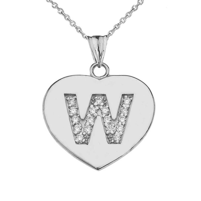"Diamond Initial ""W"" Heart Pendant Necklace in White Gold"