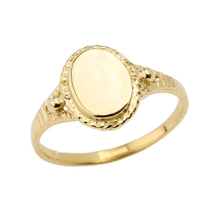 Milgrain Engravable Oval Signet Ring in Yellow Gold