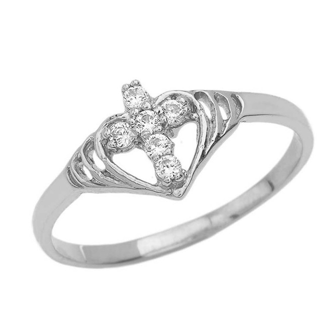 Heart with Cubic Zirconia Studded Cross Ring in White Gold