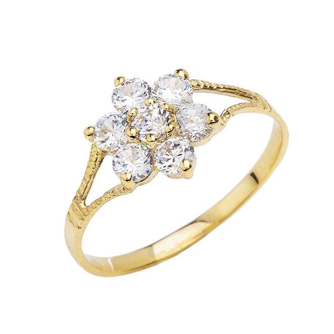 Dainty Milgrain Flower CZ Ring in Yellow Gold