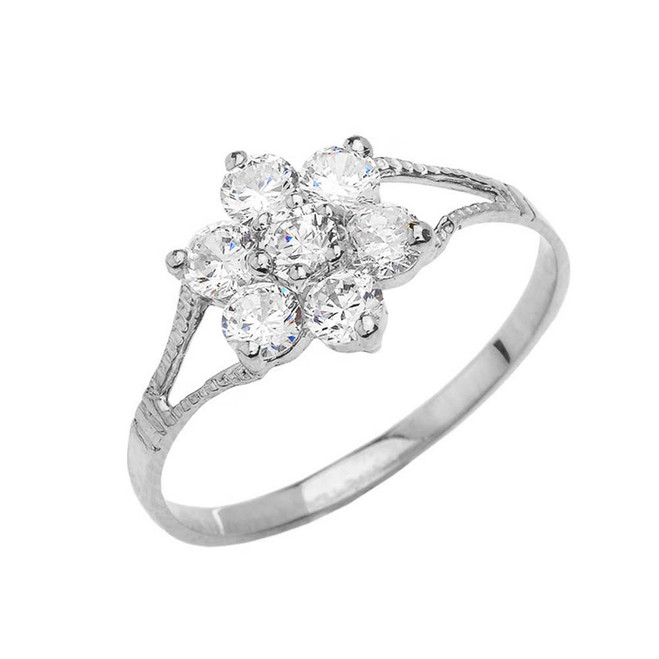 Dainty Milgrain Flower CZ Ring in Sterling Silver