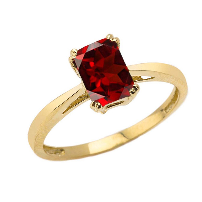 1 CT Emerald Cut Garnet CZ Solitaire Ring in Yellow Gold