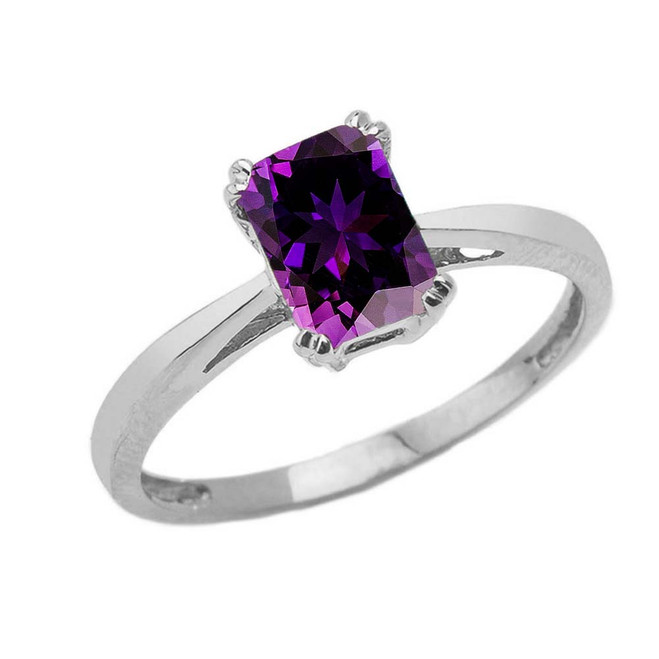 1 CT Emerald Cut Amethyst CZ Solitaire Ring in White Gold