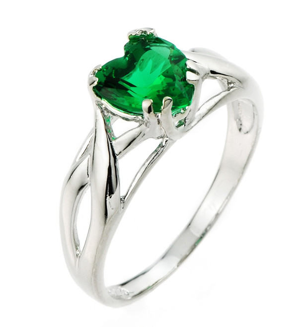 Emerald-Green Cubic Zirconia Heart Infinity Ring in Silver