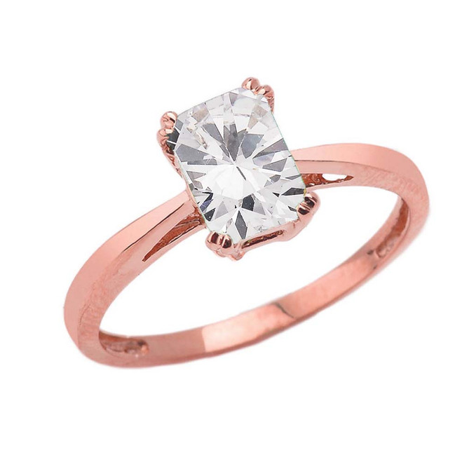 1 CT Emerald Cut CZ Solitaire Ring in Rose Gold