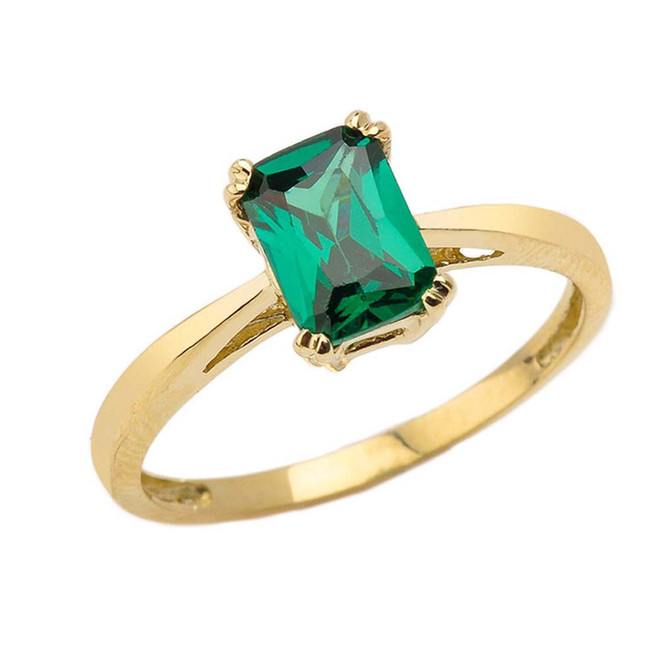 1 CT Emerald Cut Emerald CZ Solitaire Ring in Yellow Gold