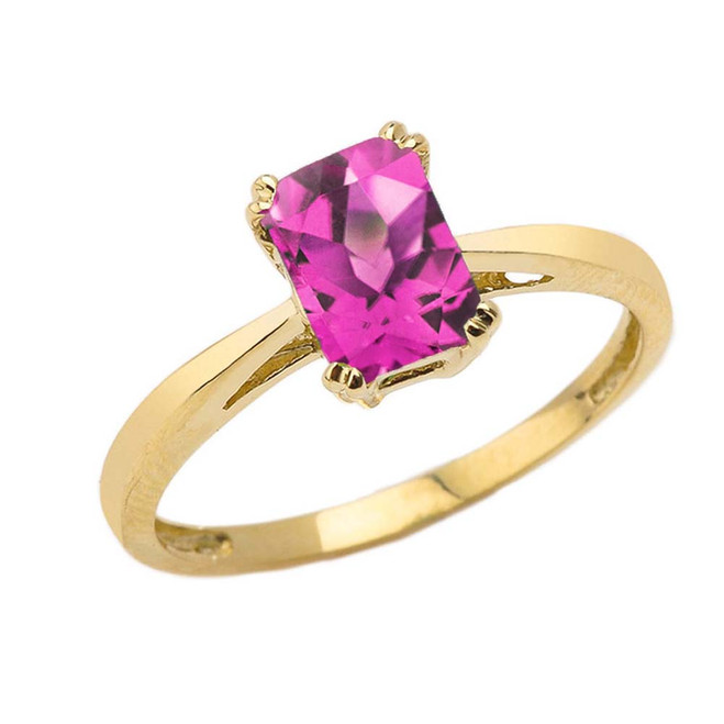 1 CT Emerald Cut Alexandrite CZ Solitaire Ring in Yellow Gold