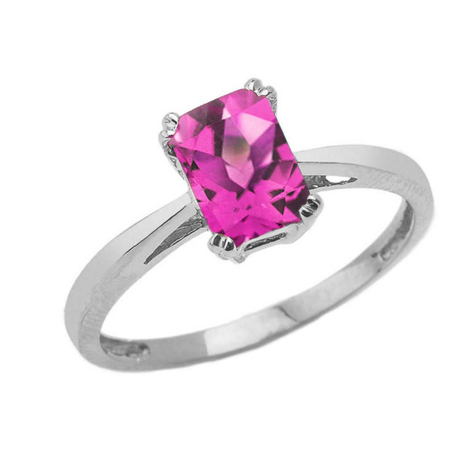 1 CT Emerald Cut Alexandrite CZ Solitaire Ring in Sterling Silver