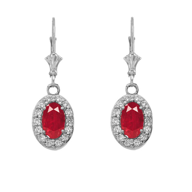 Diamond and Ruby Oval Leverback Earrings in White Gold